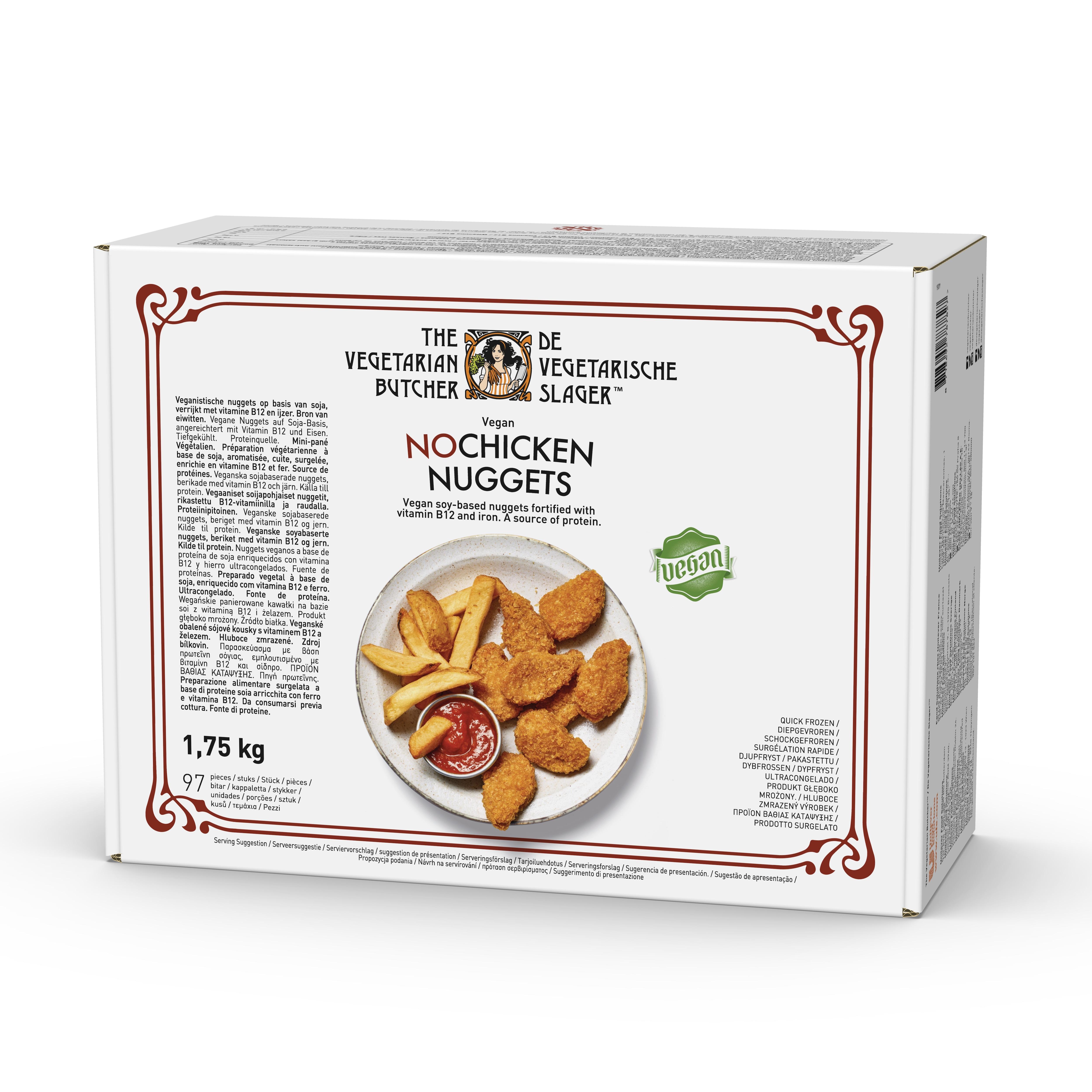 The Vegetarian Butcher NoChicken Nuggets, 1,75 kg - Gør dine foretrukne kødretter tilgængelige for vegetarer eller veganere! Med The Vegetarian Butcher kan du hurtigt og nemt servere klassiske retter men med plantebaseret kød. Takket være vores unikke opskrifter giver vores produkter dig den samme mundfølelse og oplevelse som ved traditionelt kød. Er dybfrosne.