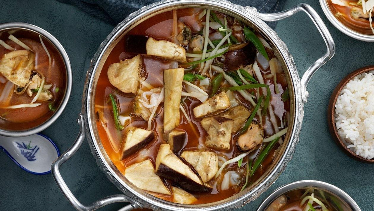 Rød thaicurry med skaldyr
