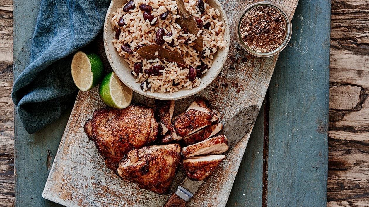 Jerk kylling med ris og bønner